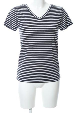 armedangels T-Shirt white-black striped pattern casual look
