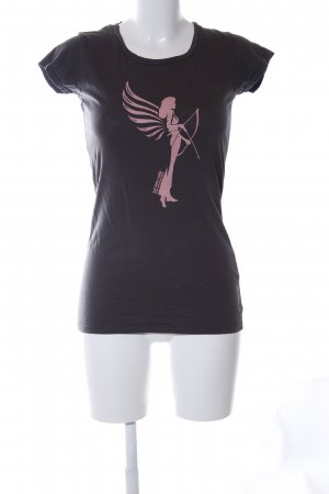 armedangels T-Shirt black themed print casual look