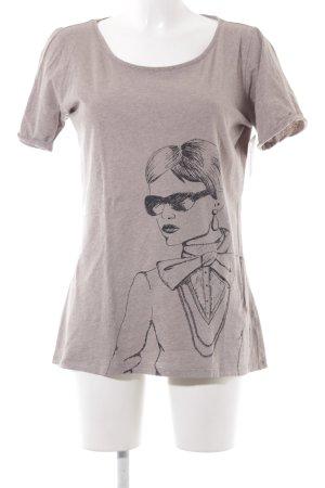 armedangels T-Shirt beige-black themed print casual look