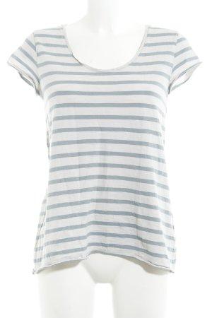 armedangels T-Shirt blassblau-creme Streifenmuster Casual-Look