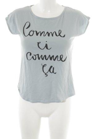 armedangels T-Shirt blassblau-schwarz Schriftzug gedruckt Casual-Look