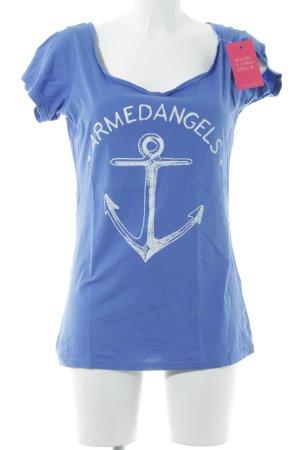 armedangels T-Shirt blue printed lettering simple style