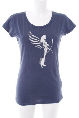 armedangels T-Shirt dunkelblau-weiß grafisches Muster Casual-Look