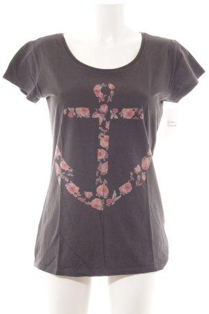 armedangels T-Shirt dunkelgrau-hellrot florales Muster Casual-Look