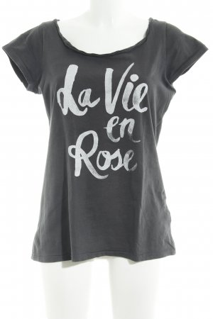 armedangels Camiseta gris oscuro-blanco puro letras impresas look casual