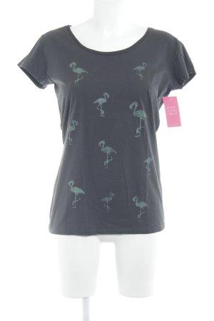 armedangels T-shirt grigio-verde chiaro stampa astratta stile casual