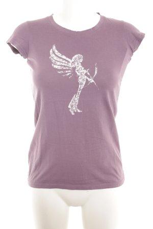 armedangels T-Shirt graulila-weiß Motivdruck Casual-Look