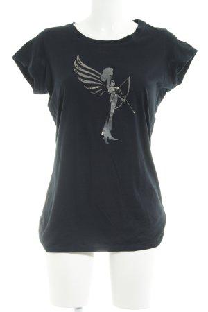 armedangels Camiseta negro-color plata look casual