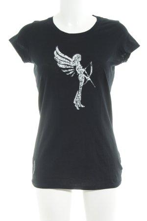 armedangels Camiseta negro-blanco look casual