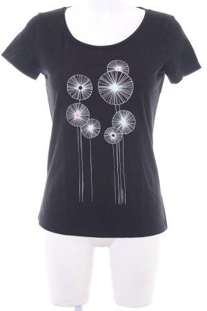 armedangels T-Shirt schwarz-weiß florales Muster Casual-Look