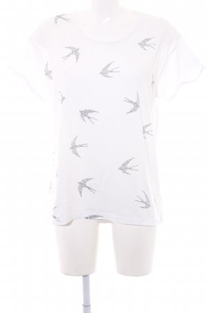 armedangels T-Shirt black-white themed print casual look