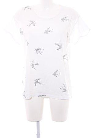 armedangels T-Shirt schwarz-weiß Motivdruck Casual-Look