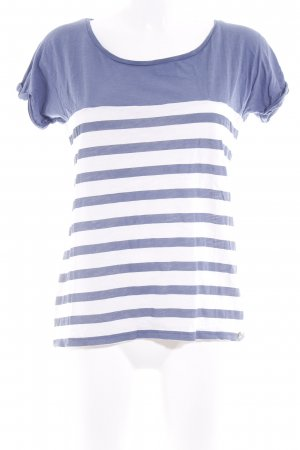 armedangels T-Shirt stahlblau-weiß Streifenmuster Casual-Look