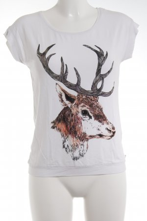 armedangels T-Shirt weiß Animalmuster Animal-Look