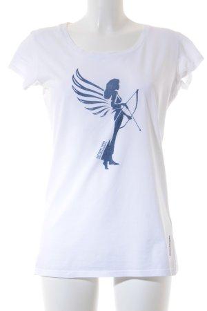 armedangels T-Shirt weiß-dunkelblau grafisches Muster sportlicher Stil