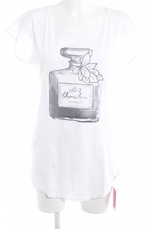 armedangels T-shirt bianco-grigio scuro Stampa a tema stile casual