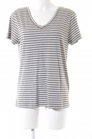 armedangels T-Shirt weiß-grau Streifenmuster Casual-Look