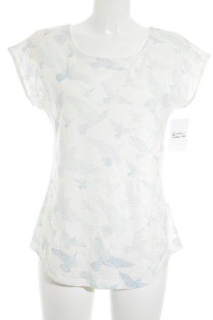 armedangels T-Shirt weiß-himmelblau Animalmuster Casual-Look