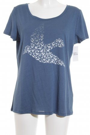 armedangels T-Shirt weiß-petrol Animalmuster Casual-Look