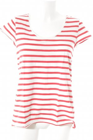 armedangels T-Shirt weiß-rot Streifenmuster Casual-Look