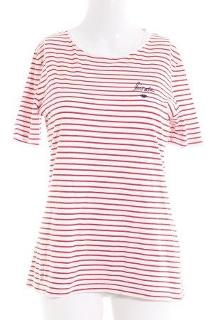 armedangels T-Shirt weiß-rot Streifenmuster Segel-Look