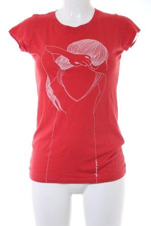 armedangels T-Shirt wollweiß-rot Motivdruck sportlicher Stil