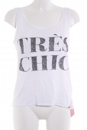 armedangels Strappy Top white-dark grey printed lettering casual look