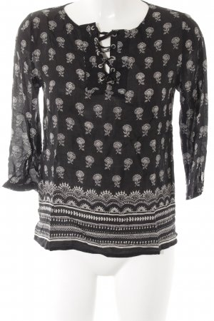 armedangels Tunic Blouse black-natural white flower pattern casual look