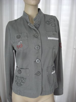 Armee Jacke Blazer Jacket Grün aufwendige Applikationen  Gr 38 Military Look