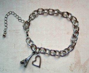 Braccialetto sottile argento-nero Metallo