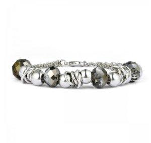 Armkette Glassteine Silber Beige
