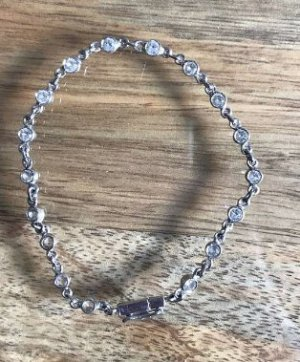 Silver Bracelet light grey real silver