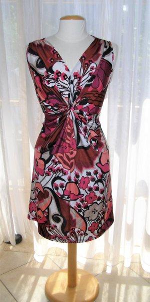 Armloses Kleid - Bunte Blumen in Pink/Schwarz/Weiß