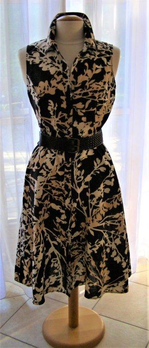 Armloses Kleid - Schwarz mit weiß/beige Blumen Muster