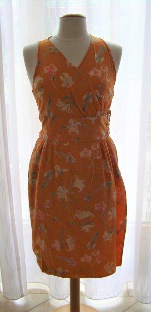 Armloses Orange Blumen Kleid von Valentino