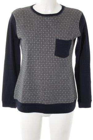 Armor Lux Rundhalspullover weiß-dunkelblau abstraktes Muster Casual-Look