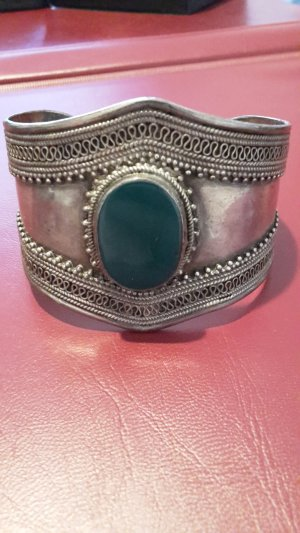 Armlet silver-colored-forest green real silver
