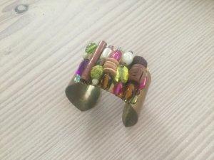 Armreif, Armband in Gold mit Perlen und Pailetten handgemacht, Armspange