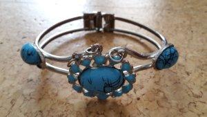 Armreif - blau - silbern - Modeschmuck - mit Steinbesatz