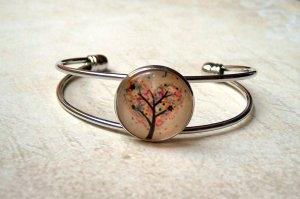 Armreif Cabochon Baum Herz Silber