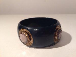 Armreif gold glanz Ornamente petrol dunkelblau  Boho Vintage grau Schmucksteine