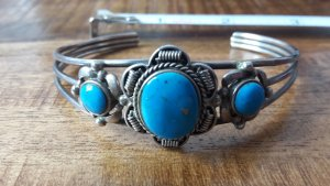 Bangle neon blue-grey real silver