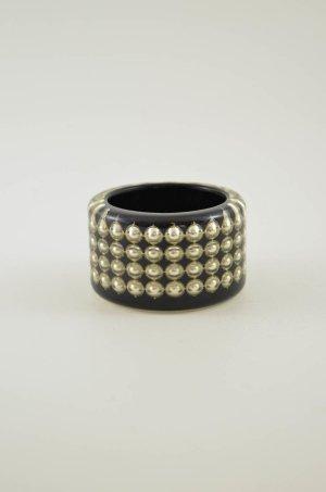 ARMREIF Modeschmuck Damen Schwarz Silber Kunststoff Nieten Rund