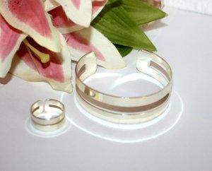 Armreif Ring Set Silber Edel Design Modeschmuck