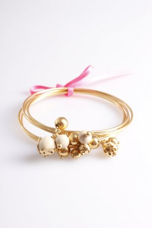 Bracelet Set gold color with wooden beads