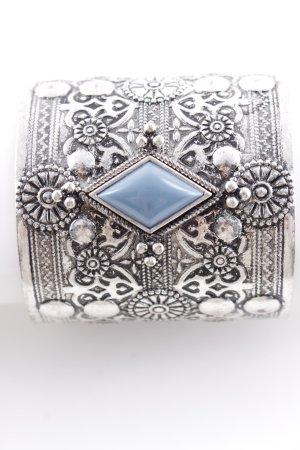 Armreif silberfarben-kornblumenblau abstraktes Muster Elegant