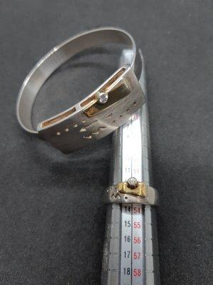 Armreif und Ring 925 Silber und 585 Gold