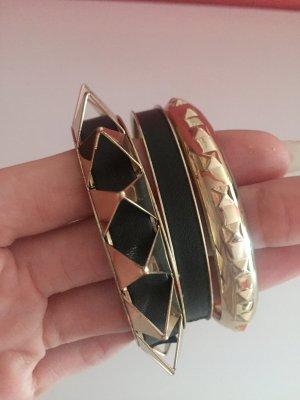 Armreifen Bänder schwarz gold rock Statement Nieten