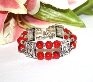Armreifen Rot/Silber Perlen Luxus Style gr. S/M