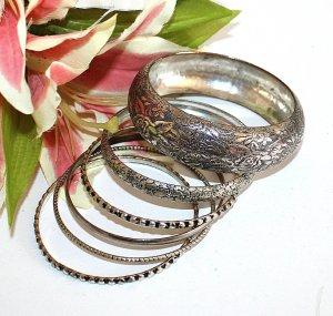 Armreifen Set Silber Geprägt 6 Stück Modeschmuck